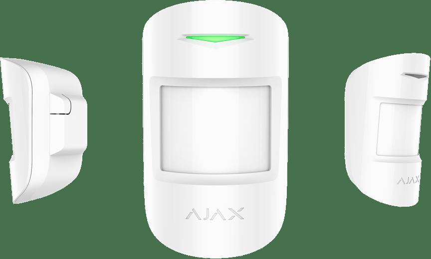 Ajax CombiProtect liike- ja lasirikkoilmaisin. Tunnistaa ihmisen läsnäolon passiivisella infrapunasensorilla.