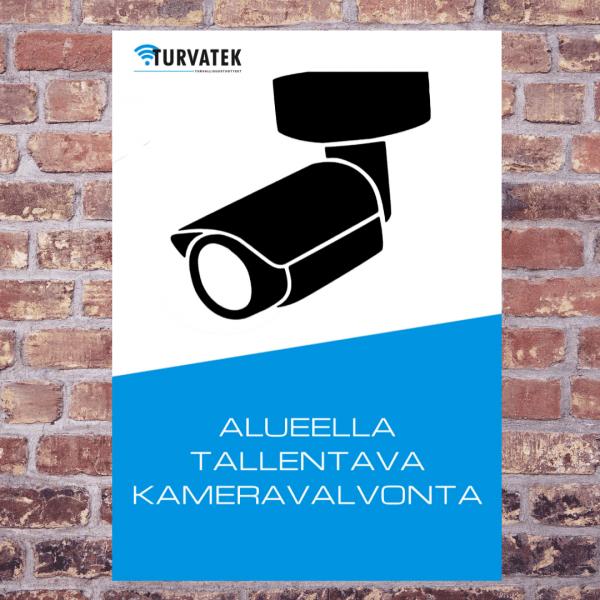 Kameravalvonta -kyltti. Kameravalvonnasta varoittava kyltti varoittaa ja ennaltaehkäisee ilkivaltaa ja varkauksia